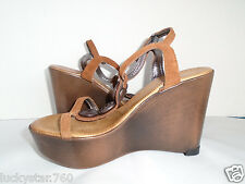 ALDO WOMANS BROWN LEATHER PLATFORM WEDGE SHOES SIZE 6