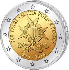 """MALTA 2 EUROS 2014 CONMEMORATIVA - ESCASA - S/C """"POLICIA DE MALTA"""""""