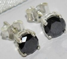 1.00ct Negro Natural Diamante Solitario Aretes Conjunto En Plata Esterlina