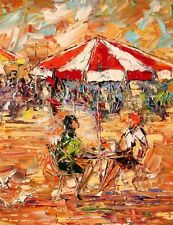 ANDRE DLUHOS sidewalk cafe girls umbrella lunch drinks ltd edition PRINT 08/75 -
