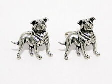 Staffordshire Bull Terrier Cufflinks, English Pewter, Gift Boxed, Staffie Dog