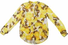RVCA MOUNTAIN AVENUE Womens Button Front Long Sleeve Blouse Small Yellow NEW