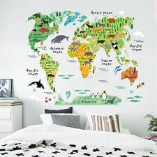 Colorful World Map Kids Nursery Room Wall Stickers Home Decal Mural Wallpaper