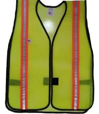 PVC Coated Lime Safety Vests Dual Reflective Orange and Silver Stripes