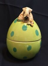 wheaten terrier Easter Egg Candy Dish Hand Sculpted ,Painted Kiln Fired By Darci