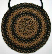 "EBONY Braided Jute 16 1/2"" Chair Pad with Ties Black and Caramel Brown"