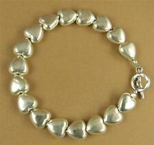 Simple fine silver heart bracelet. Double sided. Sterling silver. Handmade.