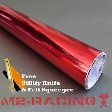 "*12""x60"" RED CHROME MIRROR Vinyl Wrap Sticker Decal Sheet Bubble Free"