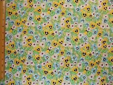 Pansies Daisies Flowers Floral Leaves cotton fabric BY THE YARD BTY