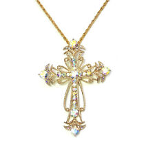 Cross Crucifix Necklace AB Crystal Big Pendant Easter Christian