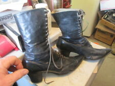Vintage antique women's 1900s Victorian era lace up shoes boots black