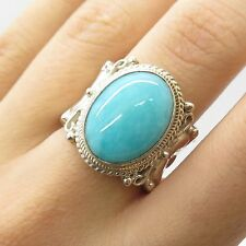 925 Sterling Silver Large Real Blue Amazonite Gemstone Ring Size 7