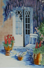 """HAND PAINTED CERAMIC WALL TILE """"FRENCH DOORS"""" by HILARY MAYES ART 8"""" x 12"""""""