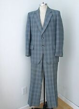GROOVY Vegas Baby Vtg 70s Blue Gray Plaid Worsted Wool Disco Pimp 2-Pc Suit 40