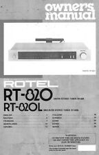 Rotel RT-820L Tuner Owners Manual