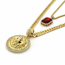 Men's 14k Gold Plated Cuban Chain Lion Face Red Eyes & Iced Red Ruby Set