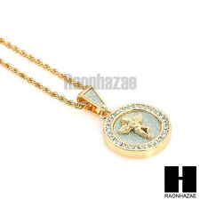 "ICED OUT DOUBLE OVAL MEDALLION ANGEL PENDANT w/ 24"" ROPE CHAIN NECKLACE KN017"