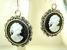 "New  Antique-look Black and White rd  CAMEO  Silver-tone Dangle Earrings 2"" long"