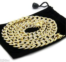 "14k Gold Finish Iced Out Simulated Cz Mens Miami Cuban Chain 30"" Necklace"