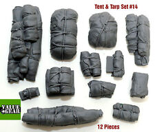 1/35 Scale Resin kit Tents & Tarps Set #14 vehicle and tank stowage set.
