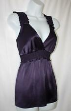 BCBG Max Azria SILK Dark Purple Empire Waist Top Blouse Shirt Medium