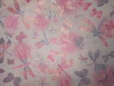 Dragonfly Dramatic Butterfly Dragon Fly Glitter Pink Purple Cotton Fabric BTHY
