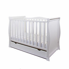 New Baby White Sleigh Mini Cot Bed With Drawer + New High Density Foam Mattress