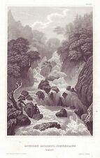 Lowdore Cataract, Cumberland, England - Antique steel engraving, 1848