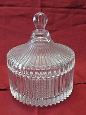 LEAD CRYSTAL GLASS RIBBED COVERED POWDER TRINKET BOX