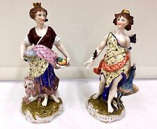 Pair Antique Continental Porcelain Female Figurines circa 1850  ref 2217