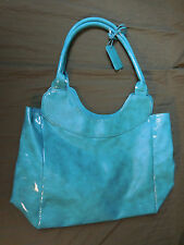 NEIMAN MARCUS TURQUOISE OR TEAL GLOSSY PATENT LEATHER PURSE HANDBAG