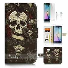 Samsung Galaxy ( S7 Edge ) Flip Wallet Case Cover P2701 Pirate Skull