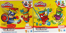 2 x marvel avengers play doh peut heads-spiderman bouffon vert/iron man