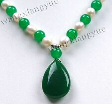 """Natural 7-8mm White Akoya Pearl/Emerald Teardrop Pendant(20x30mm) Necklace 18"""""""