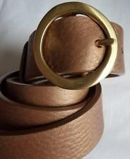 COLE HAAN TAN GOLD METALLIC SOFT LEATHER BELT L