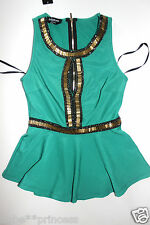 NWT bebe green sequin beaded cutout peplum ruffle embellished dress top S small