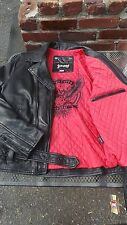 NEW Schott NYC Black Leather Motorcycle Retro Rodeo Jacket MC1141 size Large NWT