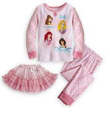 Disney Store Deluxe Princess Pajamas w/ Tutu 3pc Set PJ's Toddler Size 3 NWT!