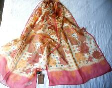 GORGEOUS NWT BASILE SHEER PURE SILK LONG SCARF PINK ORANGE RED PAISLEY DESIGN