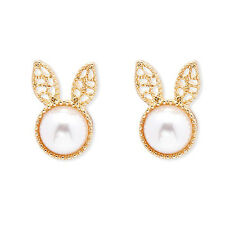 Very cute gold tone white pearl bunny rabbit stud earrings