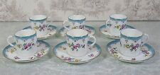 Bone China Raleigh Adderley Demitasse England Tea Cup Saucer Floral Blue Set 6p