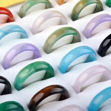 New 10pcs Wholesale Mixed Multi-color Fashion Women Lady Jade Agate Ring Band