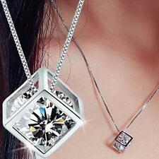 Fashion Women's 925 Sterling Silver Chain Crystal Rhinestone Pendant Necklace GG