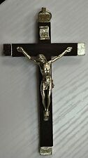 Wall Crucifix Metal Backed Dark Wood Cross Metal Corpus Quality Made In Italy