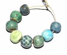 Ceramic Bead Set Handmade Stoneware Aqua Blue Mix
