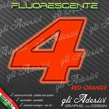 Adesivo Stickers NUMERO 4 moto auto cross gara Rosso FLUORESCENTE 5 cm