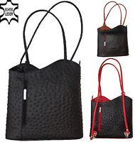 2in1 Damen LEDER Hand Tasche Rucksack Schultertasche STRAUß schwarz braun rot