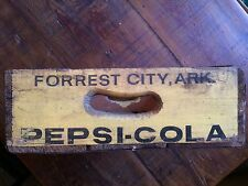 Vintage PepsiCo Cola Yellow/w Black Letters Wooden Crate Forrest City Ark.