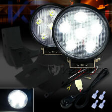 Jeep 97-06 Wrangler TJ Round 6-LED Work Fog Lights+Wiring Kit+Mounting Brackets