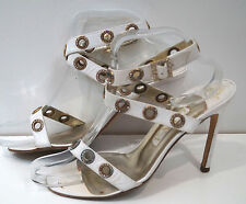 GINA White Leather Gold & Diamante Buckle Wrap Stiletto Sandals Shoes UK5.5